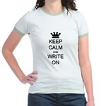 Keep Calm and Write On Jr. Ringer T-Shirt