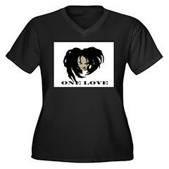 ONE LOVE Women's Plus Size V-Neck Dark T-Shirt