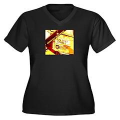 BEAT STREET Women's Plus Size V-Neck Dark T-Shirt