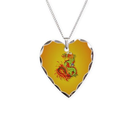 Year Of The Dragon Necklace Heart Charm