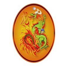 Flaming Dragon with Symbol Ornament (Oval)