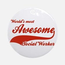 World's Most Awesome Social worker Ornament (Round