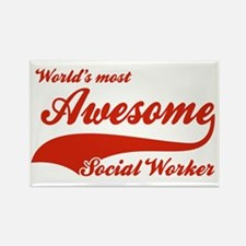 World's Most Awesome Social worker Rectangle Magne