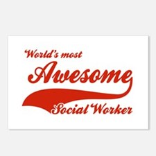 World's Most Awesome Social worker Postcards (Pack