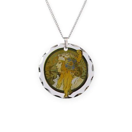 Byzantine Blonde Head Necklace Circle Charm