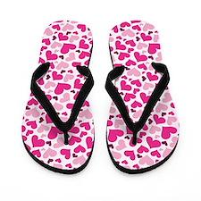 Pink Heart Cute Valentine Flip Flops