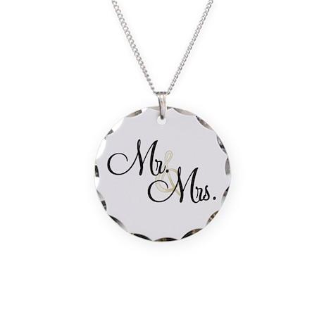 Mr & Mrs (Wedding) Necklace Circle Charm