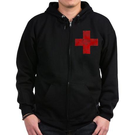 Vintage, Red Cross Zip Hoodie (dark)