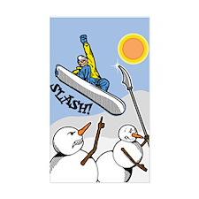 Snowboard Attacks Snowmen Rectangle Decal