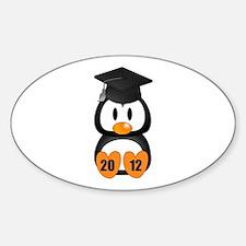 Custom Gradution Penguin Sticker (Oval)
