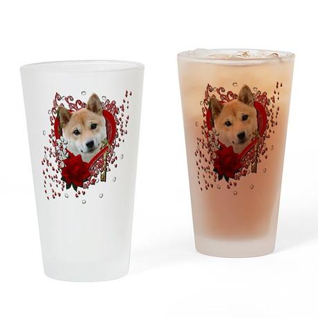 Valentines - Key to My Heart Shiba Inu Drinking Gl