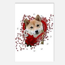 Valentines - Key to My Heart Shiba Inu Postcards (
