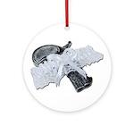 Black Pistol Garter Belt Ornament (Round)