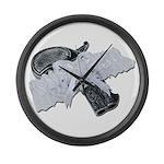 Black Pistol Garter Belt Large Wall Clock