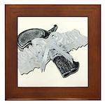 Black Pistol Garter Belt Framed Tile