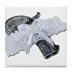 Black Pistol Garter Belt Tile Coaster