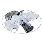Black Pistol Garter Belt Sticker (Oval)