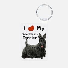 I Love My Scottish Terrier Aluminum Photo Keychain