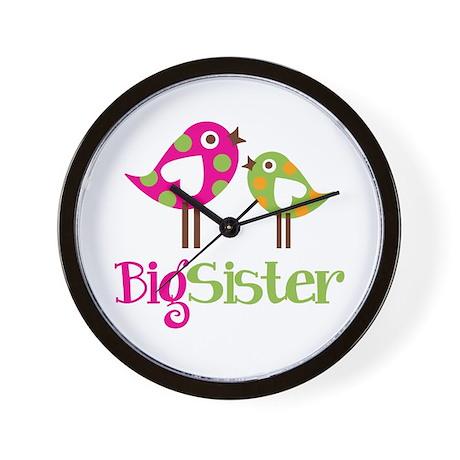 Polka Dot Birds Big Sister Wall Clock