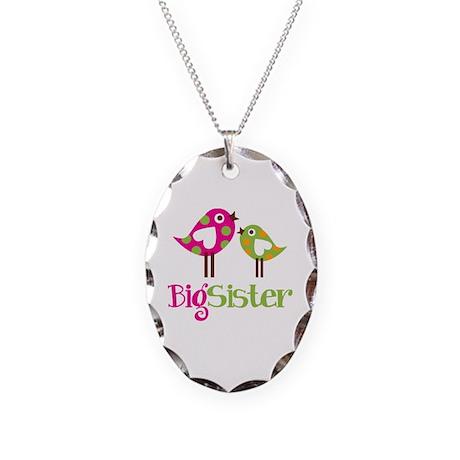 Polka Dot Birds Big Sister Necklace Oval Charm
