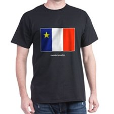 Canada Arcadian Flag (Front) Black T-Shirt