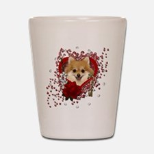 Valentines - Key to My Heart Pomeranian Shot Glass