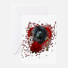 Valentines - Key to My Heart Newfie Greeting Card