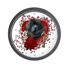 Valentines - Key to My Heart Newfie Wall Clock