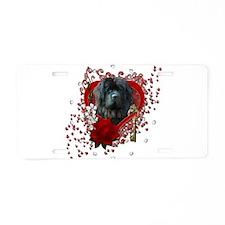 Valentines - Key to My Heart Newfie Aluminum Licen