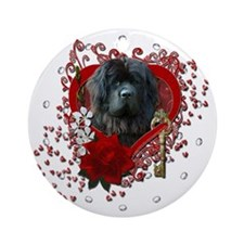 Valentines - Key to My Heart Newfie Ornament (Roun