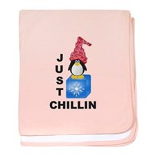 Just Chillin Penguin baby blanket