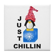 Just Chillin Penguin Tile Coaster