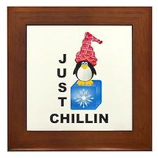 Just Chillin Penguin Framed Tile