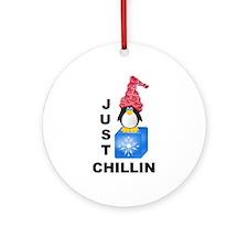 Just Chillin Penguin Ornament (Round)