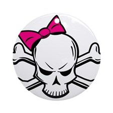 Girly Skull Ornament (Round)