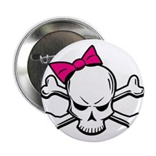 "Girly Skull 2.25"" Button"