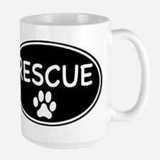 Rescue Black Oval Mugs