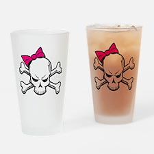Girly Skull Drinking Glass