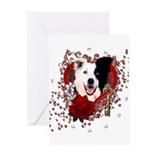 Valentines - Key to My Heart Border Collie Greetin