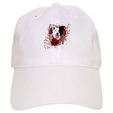 Valentines - Key to My Heart Border Collie Baseball Cap