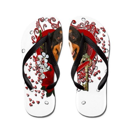 Valentines - Key to My Heart Bernie Flip Flops