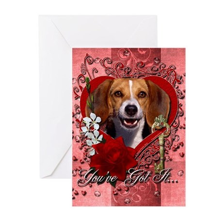 Valentines - Key to My Heart Beagle Greeting Cards