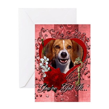 Valentines - Key to My Heart Beagle Greeting Card