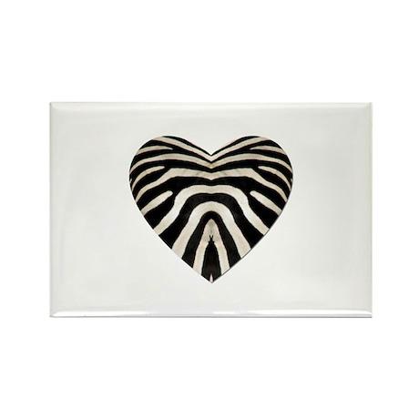 ZEBRA HEART Rectangle Magnet