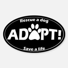 Adopt Sticker (White on Black)