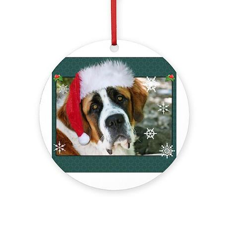 Christmas St. Bernard Dog Pho Ornament (Round)