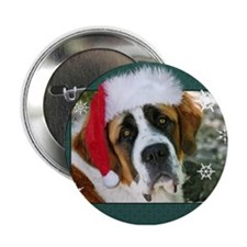 "Christmas St. Bernard Dog Pho 2.25"" Button"