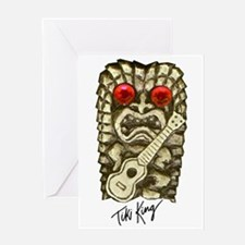 Ukulele Playing Tiki Greeting Card
