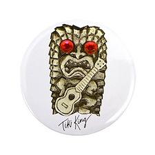 """Ukulele Playing Tiki 3.5"""" Button"""