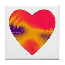 ORANGE/FUCHSIA STACKED HEARTS Tile Coaster